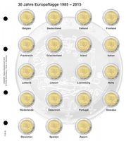 "Illustrated page for 2 EURO commemorative coins: 2 Euro-Common Issue ""30 years European Flag"""