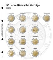 "Illustrated page karat for 2 EURO commemorative coins : Common Issue ""Treaty of Rome"""