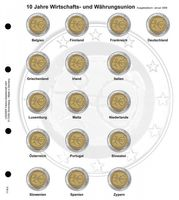 "Illustrated page karat for 2 EURO commemorative coins : Common Issue ""10 years Economic and Monetary Union"""