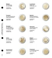 Illustrated page karat for 2 EURO commemorative coins : Belgium 2009 - France 2010
