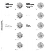 "Illustrated page karat for 2 EURO commemorative coins series ""German Federal States"": 2008/2009, Hamburg/Saarland"
