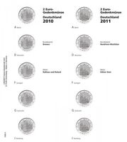 "Illustrated page for 2 EURO commemorative coins series ""German Federal States"": 2010/2011, Bremen/Nordrhein-Westfalen"