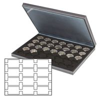 Coin case NERA M with black coin insert with 12 rectangular compartments for REBECK COIN L coin holders 75x50 mm – Bild 1