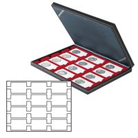 Coin case NERA M with light red insert with 12 rectangular compartments for REBECK COIN L coin holders 75x50 mm – Bild 1