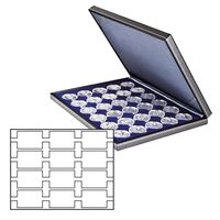 Coin case NERA M with darkblue insert with 12 rectangular compartments for REBECK COIN L coin holders 75x50 mm – Bild 1