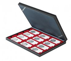Coin case NERA M with dark red insert with 12 rectangular compartments for REBECK COIN L coin holders 75x50 mm – Bild 2