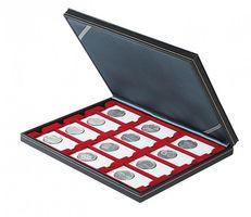 Кассета NERA M c тёмно-красным планшетом на 12 прямоугольных ячеек для размещения монетных рамок REBECK COIN L 75 мм x 50 мм – Bild 2