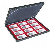Кассета NERA M c тёмно-красным планшетом на 12 прямоугольных ячеек для размещения монетных рамок REBECK COIN L 75 мм x 50 мм – Bild 1
