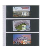 Crystal clear pocket page with 3 strips (90 mm), with black inserts - pack of 10