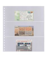 Crystal clear pocket page with 3 strips (90 mm), with black backing page - pack of 10