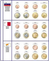 Illustrated page EURO COLLECTION: EURO coin sets Slovenia/Malta/Cyprus