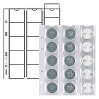 Multi collect coin pages for 15 coins  up to 42 mm  diameter, interleaving red,pack of 5 – Bild 1