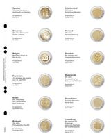 """Multi collect"" Illustrated page for 2 EURO-Commemorative coins: Spain 2010 - Luxembourg 2011"