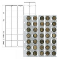 """Multi collect"" coin pages for 35 oins up to 27 mm Ø, red interleaving - pack of 5 – Bild 1"
