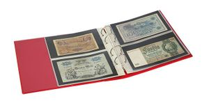 "PUBLICA M COLOR Banknote Album with 10 double-sided ""Multi collect"" pages in 2 different layouts, Berry (red) – Bild 3"