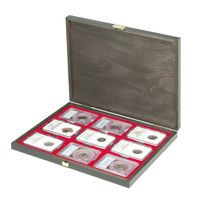 LINDNER Authentic wood case CARUS-1 with one dark red insert for 9 US coin capsules (Slabs) up to a format of 63 x 85 mm – Bild 4