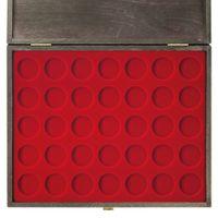 LINDNER cassetta per monete in legno CARUS-1 con un vassoio rosso scuro per monete con Ø fino a 32,5 mm, per es. per monete tedesche d'argento da 20/10 Euro – Bild 5