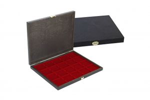 LINDNER Authentic wood case CARUS-1 with one dark red insert for 20 coin holders 50x50 mm/coin capsules CARRÉE/OCTO coin capsules – Bild 2