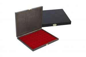 LINDNER Authentic wood case CARUS-1 with one dark red insert for 54 coins up to Ø 25,75 mm, e.g. for 2 EURO coins – Bild 2
