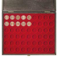 LINDNER Echtholz-Münzkassette CARUS-1 mit einer dunkelroten Münzeinlage für 54 Münzen mit Ø 25,75 mm, z.B. für 2 Euro-Münzen – Bild 5