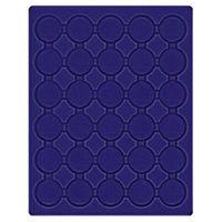 Velourseinlage, dunkelblau, mit 30 runden Vertiefungen für Münzkapseln mit Außen-Ø37,5 mm, z.B. für orig. verkapselte deutsche 20 Euro-/10 Euro-Silbermünzen in Spiegelglanz – Bild 1