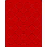 Plateau velours rouge vif à 20 alvéoles ronds pour capsules Ø ext. 42 mm  – Bild 1