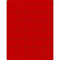 Velourseinlage, hellrot, mit 30 quadratischen Fächern für Münzen/Münzkapseln bis Ø38 mm  – Bild 1