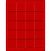 Velourseinlage, hellrot, mit 20 quadratischen Fächern für Münzen/Münzkapseln bis Ø47 mm  – Bild 1