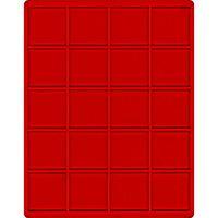 Velourseinlage, hellrot, mit 20 extra tiefen quadratischen Fächern für Münzen/Münzkapseln bis Außen-Ø51 mm – Bild 1