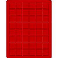 Velourseinlage, hellrot, mit 48 quadratischen Fächern für Münzen/Münzkapseln bis Ø30 mm  – Bild 1