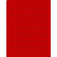 Velourseinlage, hellrot, mit 48 quadratischen Fächern für Münzen/Münzkapseln bis Ø28 mm  – Bild 1