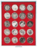 Plateau velours rouge vif à 20 alvéoles ronds pour capsules Ø ext. 46 mm et petites capsules box monnaies LINDNER  avec cercles de maintien – Bild 2