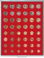 Велюровый планшет красного цвета  2506E (для размещения комплектов монет евро)