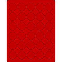 Plateau velours rouge vif à 30 alvéoles ronds pour capsules Ø ext. 37,5 mm, par ex. pour 20 Euro-/10 Euro Argent Allemagne BE sous capsules d'origine – Bild 1
