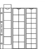 Нумизматические листы системы Кarat для размещения 5 монет диаметром до 38 мм, 12 монет диаметром до 30 мм и 16 монет диаметром до 22 мм,  в комплекте с красным листом-прокладкой. Упаковка 5 штук.