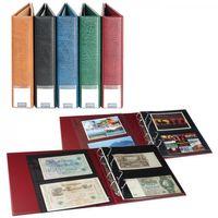 LINDNER Luxus-Sammelalbum für Banknoten/Postkarten mit 20 geteilten, beidseitig bestückbaren Folienblättern, weinrot