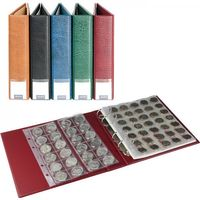 LINDNER luxus Coin album with 10 coin pages, wine red.