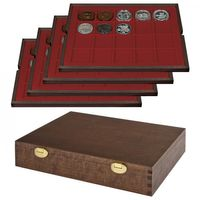 LINDNER Solid Wood Case   with 4 trays for 80 coins/coin capsulles up to Ø 47 mm-   SPECIAl  EDITION