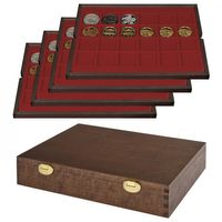 LINDNER Solid wood Case with 4 tray sfor 96 coin/coin capsules up to Ø 42 mm SPECIAL EDITION