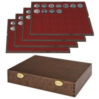 LINDNER Solid Wood Case   with 4 trays for 140  coins with Ø 32,5 mm e.g. for German 20 Euro or 10 Euro-Silver coins -  SPECIAl  EDITION