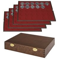 "LINDNER Solid Wood Case with 4 trays for 120 coin capsules with external measurement-""Ø 37 mm, e.g. 20 Euro/10 Euro-Silver coins in-proof - SPECIAL EDITION"