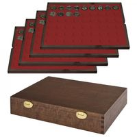 LINDNER Solid Wood Case with 4 Trays for 216 coins with Ø25,75 mm, e.g. for 2 Euro-coins .  SPECIAL EDITION