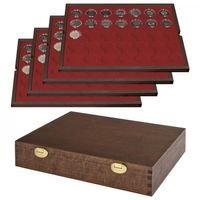 LINDNER Solid Wood with 4 trays for 140 coin capsules with-Ø 32 mm,e.g. for 2 Euro-coins in LINDNER coin capsules-SPECIAL EDITION