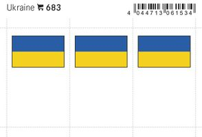 Flaggen-Sticker: Ukraine, 24 x 38 mm, 6er-Packung