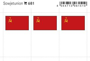 Flaggen-Sticker: Sowjetunion, 24 x 38 mm, 6er-Packung