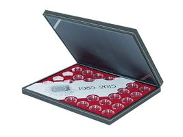 "Coin case NERA ""30 years European flag"" SPECIAL EDITION, incl. 23 coin capsules, with dark red insert – Bild 1"