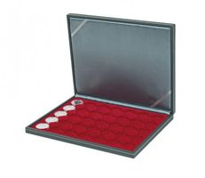 Coin case NERA M with dark red insert with 35 ound compartments for coin capsules with external Ø 34 mm, e.g. for 5 EURO coins GERMANY in LINDNER coin capsules – Bild 1