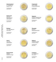 Illustrated page karat  for 2 Euro commemorative coins: Greece Januarу 2016 till Finland April 2016