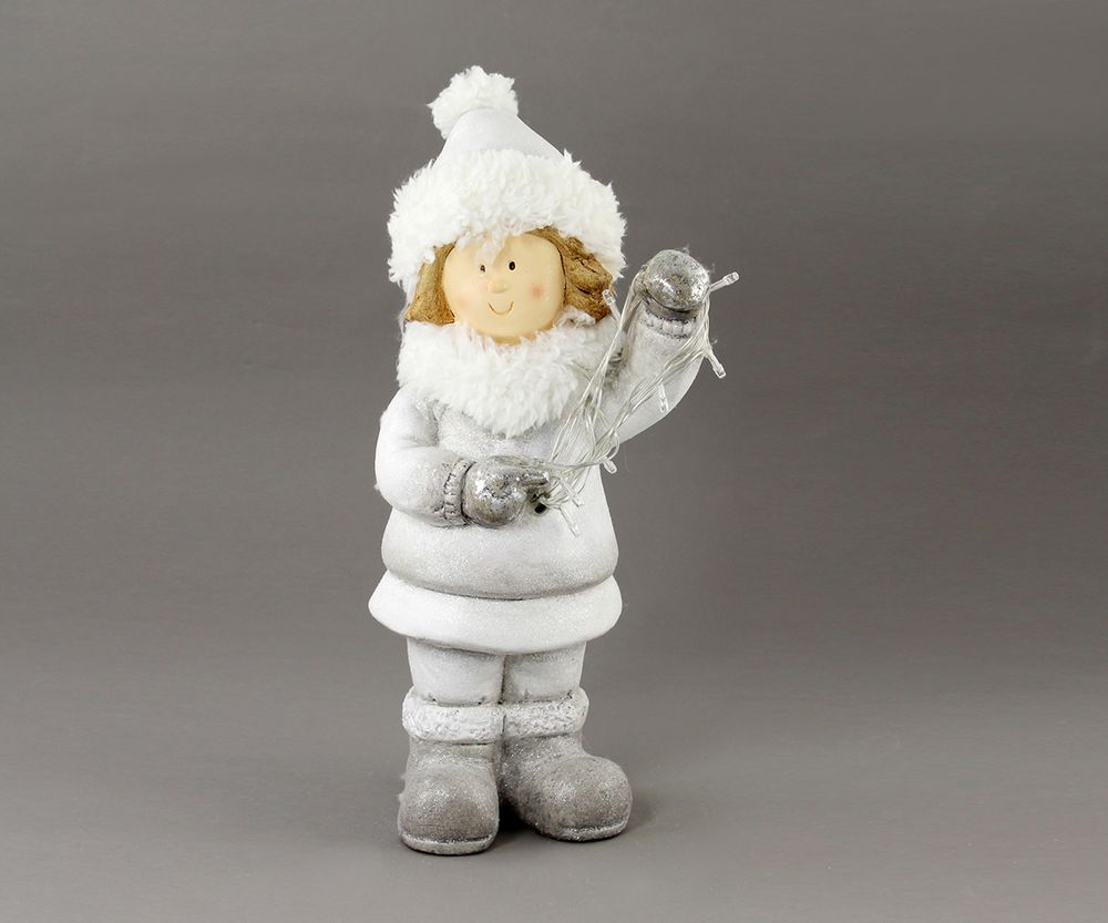 Goldbach Winterkind mit Lichterkette, 40cm, weiß-silber