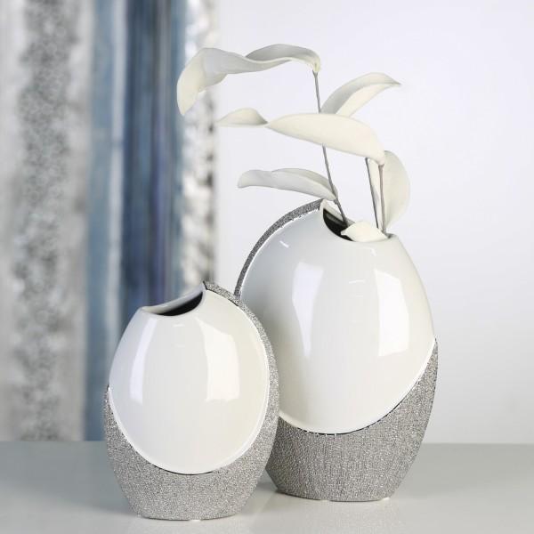 casablanca deko vase prime 19 cm weiss silber. Black Bedroom Furniture Sets. Home Design Ideas